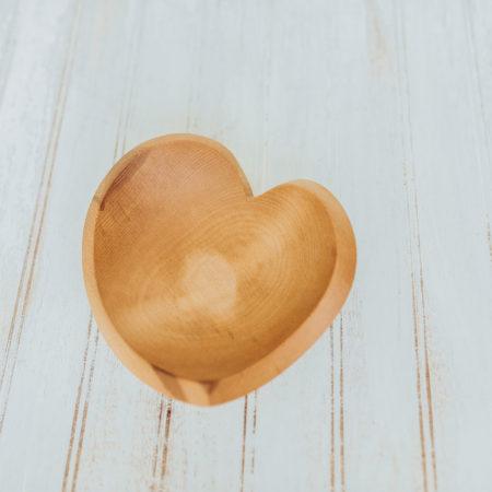 Beech teardrop heart bowls