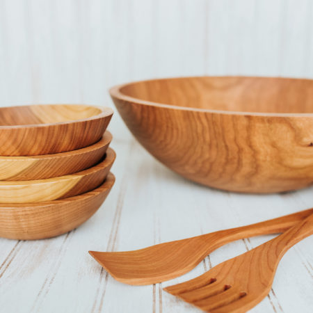 solid Cherry wooden bowl set