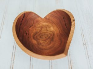 Cherry wood teardrop heart bowl