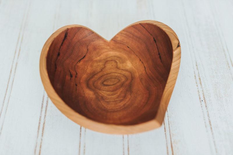 Cherry wood teardrop heart bowl