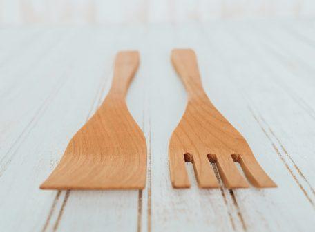 Cherry Utensil set, 14-inch salad utensil set made from Cherry wood.