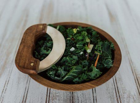 9 inch Beech Bowl & Mezzaluna Knife Set with Dark Walnut Finish