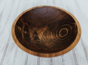 12 inch Beech Bowl – Dark Walnut & Bee's Oil Finish