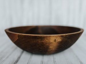 15 inch solid Beech bowl with Dark Walnut Finish