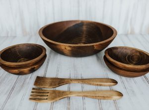 15 inch Beech Bowl Set with Dark Walnut Finish