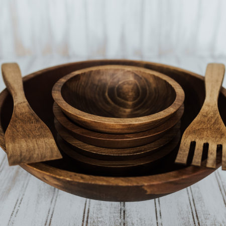 15 inch Wooden Bowl Set | Beech with Dark Walnut Finish