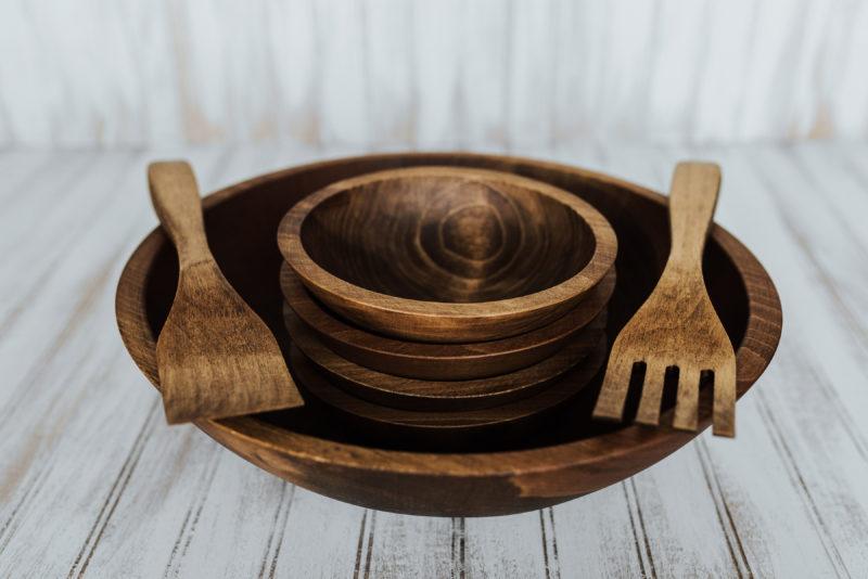 15 inch Wooden Bowl Set | Beech with Dark Walnut Finish