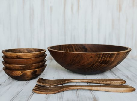 17 inch Beech Bowl Serving Set with Dark Walnut Finish