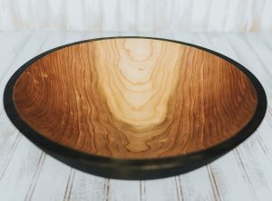 15-inch large cherry wood serving bowl, ebonized