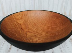 17-inch large cherry serving bowl, ebonized
