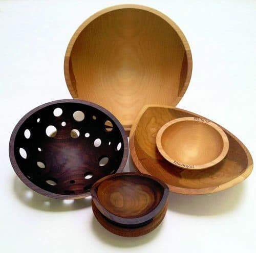 An assortment of Holland Bowl Mill wood bowls