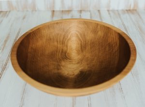 15 inch Beech Bowl with Light Walnut & Bee's Oil Finish
