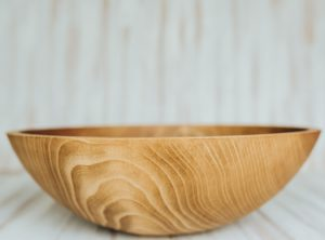 17 inch Beech Salad Serving Bowl with Light Walnut Finish