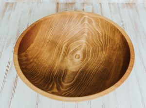 17 inch Beech Bowl with Light Walnut & Bee's Oil Finish