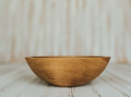 8-inch Beech Side Salad Serving Bowls with a Light Walnut Finish