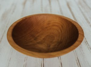 9 inch Beech Bowl with Light Walnut & Bee's Oil Finish