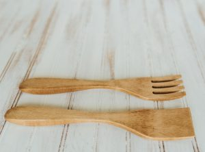 12-inch Beech Wood Utensil Set with Light Walnut Finish