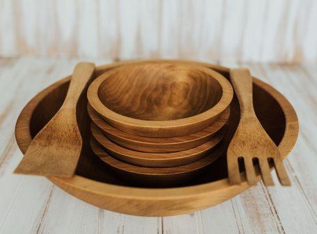 15 inch Beech Wooden Bowl Salad Set