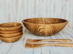17 inch Beech Bowl Set with Light Walnut Finish