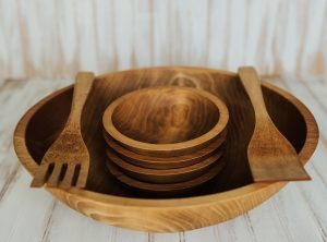 17-inch Beech Five Bowl Serving Set with Light Walnut Finish