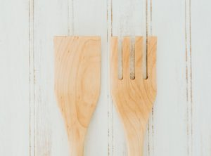 12 inch Maple Caesar Salad Utensil Set