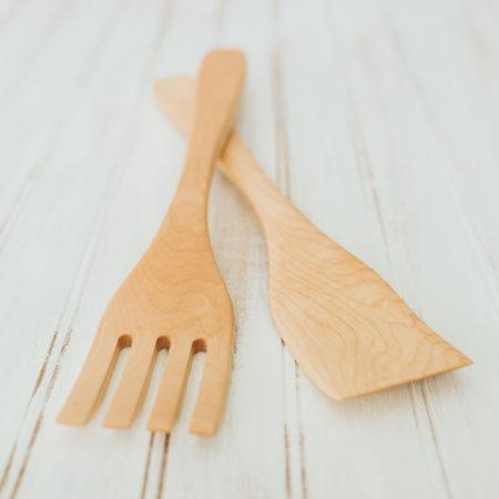 14-inch large maple salad utensil set