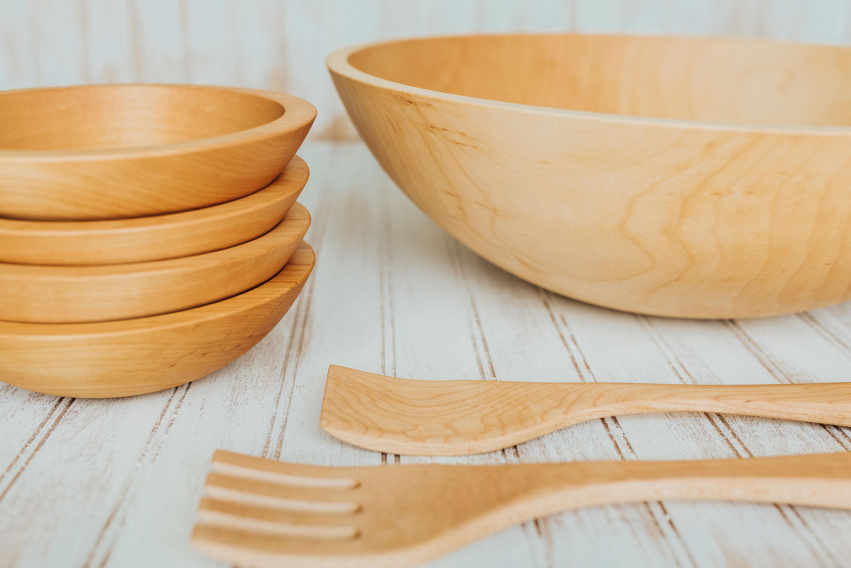 Wood Salad Bowl Set 5 Bowl Maple Wood Set With Salad Servers