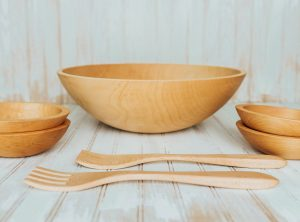 17 inch Maple Wood Salad Bowl Set – Bee's Oil Finish