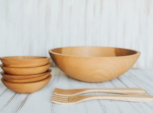 handmade wooden salad bowl set. 17 inch beech bowl set.