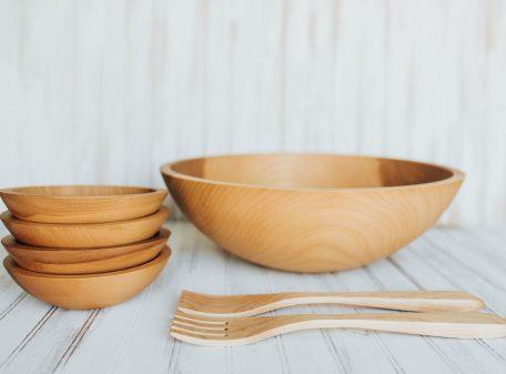 handmade wooden salad bowl set. 17 inch beech bowl set.
