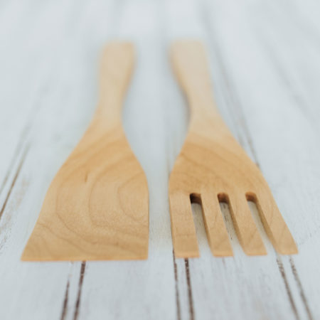 9 inch Maple Salad Utensil Set