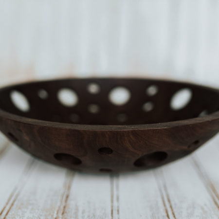 12-inch Walnut Fruit Bowl with holes for aeration.
