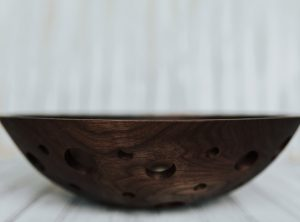 15-inch Walnut Fruit Bowl with dark finish