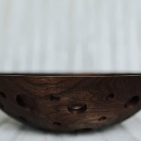 15-inch Walnut Fruit Bowl with dark finish