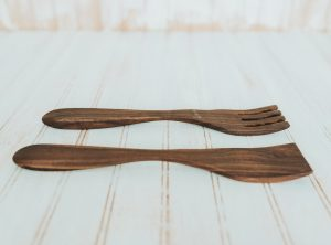 12 inch Walnut Caesar Salad Utensil Set