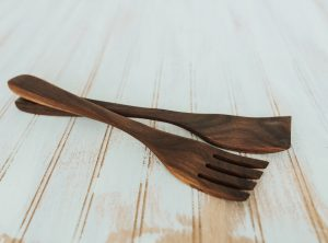 14 inch Walnut Caesar Salad Utensil Set
