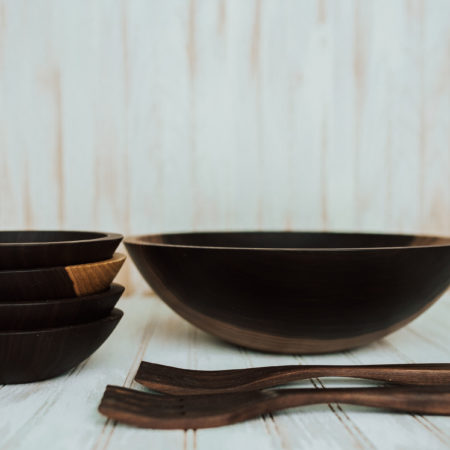 dark walnut wooden bowl set