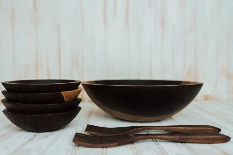 dark walnut wooden bowl set