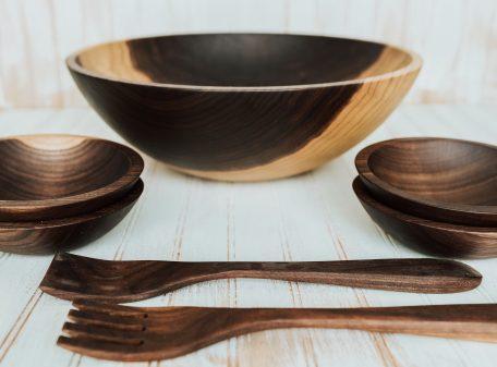 large walnut bowl set