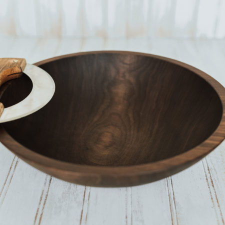 12-inch Walnut chopping bowl set. Bowl with dark walnut mezzaluna knife
