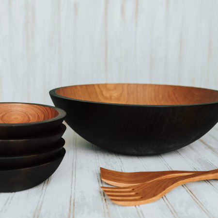 Ebonized Cheery wooden bowl salad set with utensils