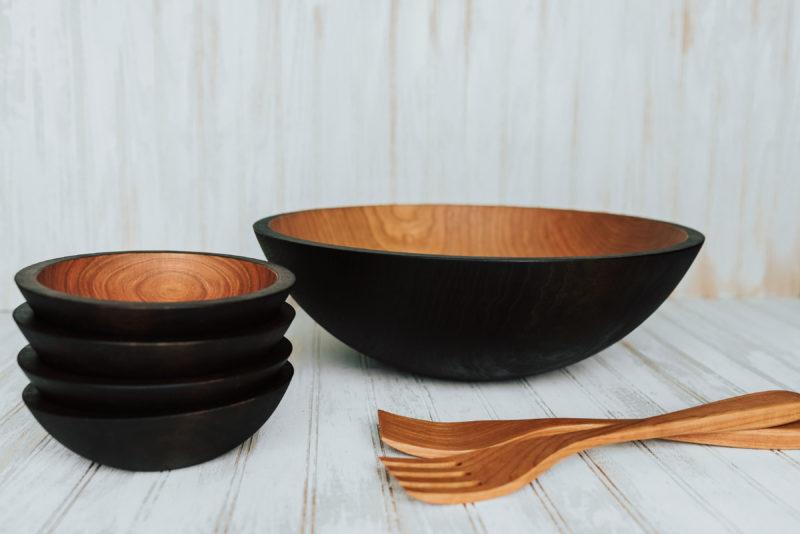 Ebonized Cheery wooden bowl salad set with utensils