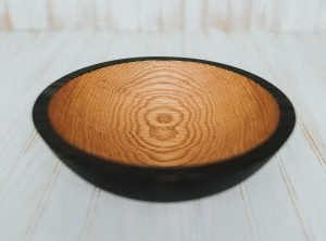 10 inch Ebonized Red Oak Bowl – Bee's Oil Finish