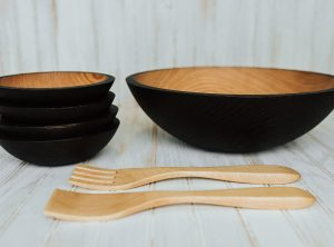 15 inch Ebonized Red Oak Set – Bee's Oil Finish – wooden bowls wholesale availble