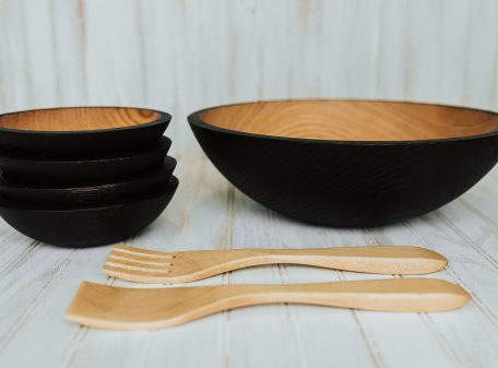 Red Oak serving set, ebonized, featuring four bowls and one large 15-inch bowl