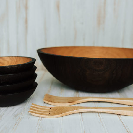 17-inch ebonized wooden bowl set