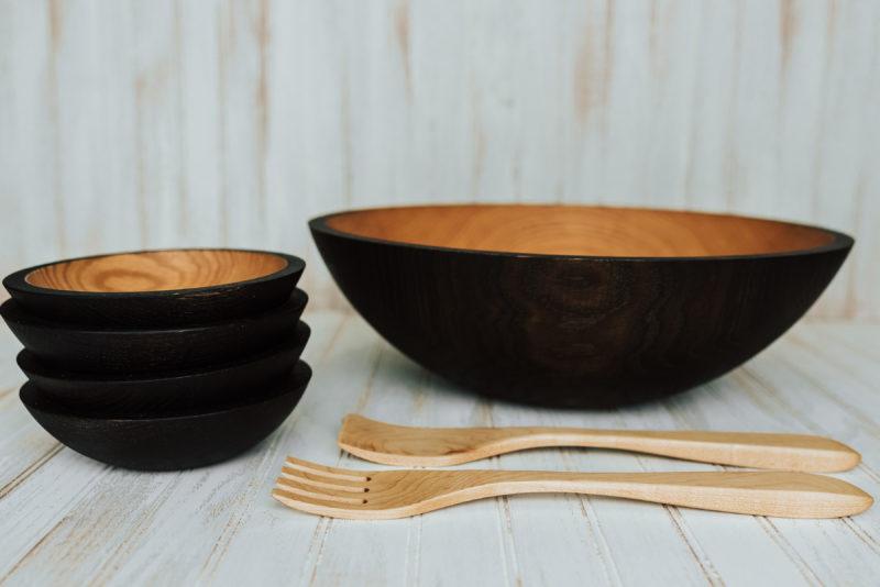17-inch ebonized wooden bowl set