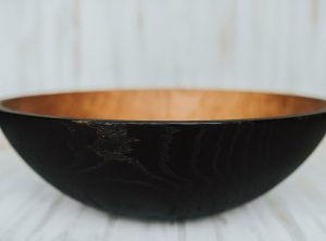 20-inch Ebonized Red Oak Large Wooden Bowls