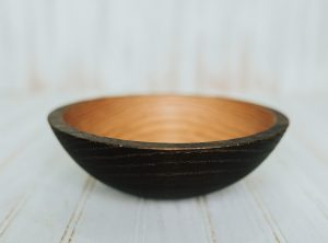 8 inch Ebonized Red Oak Bowl – Bee's Oil Finish