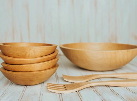 Large Wooden Salad Bowl Set made from Maple